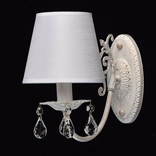 Applique elegante decorativo colore bianco ed oro dipinto metallo paralume tessile a pieghe bianco gocce cristalli trasparenti in camera da letto o soggiorno 1*40W E14 - escl - Elegante Cristallo
