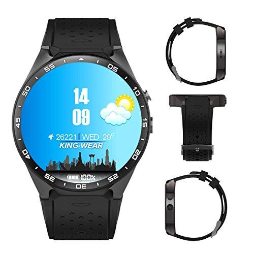 Kingwear KW88 3G intelligente Uhr, Handy All-in-One Bluetooth Smart Uhr Android 5.1 IOS, Vier Kern 2.0MP Kamera Bluetooth SIM Karte WiFi GPS Herzfrequenz-Monitor (Uhr-handy Android Gsm)