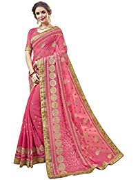 Aagaman Fashions Georgette Rosado Ropa festiva Bordado Tradicional Sari