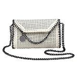Valleycomfy Frauen Handtasche Schultertasche Metallic Chain Pu Leder Clutches Tasche,Beige