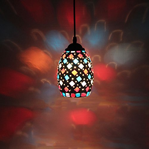 Frideko Modern Mosaic Lamp Shade Ceiling Pendant Light for Living Room Bar Pub Restaurant Coffee Shop (Type D)