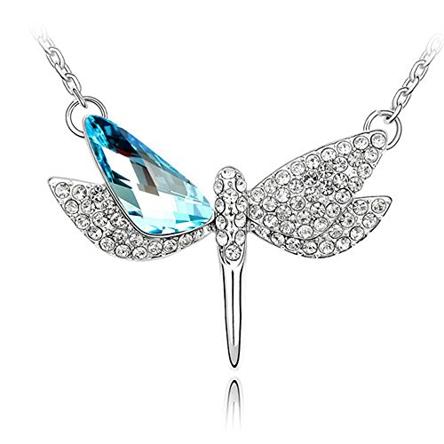 Bungsa Silber Kette Libelle Damenkette 45cm Silberfarben - Anhänger mit Großem, strahlenden Kristall in Hellblau & klarem Strass - Halskette Frauen Necklace Crystal Silver Blue Dragon-Fly