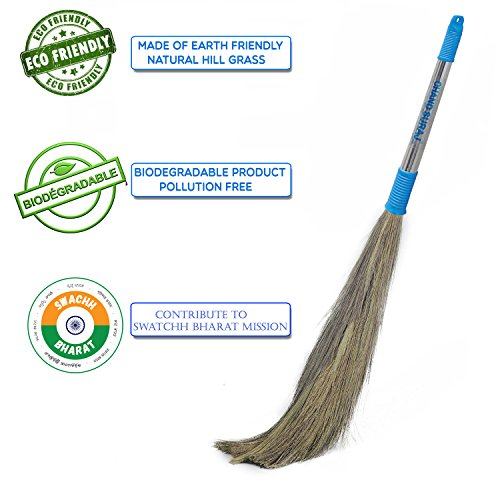 Pellcaso Chand Suraj Long Steel Handle Eco Friendly Soft Grass Floor Broom Stick For Cleaning (Phool Jhadu / mop)  available at amazon for Rs.179