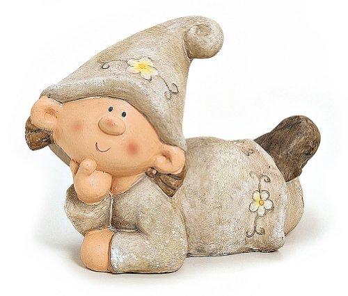 Wichtel Figur Gartenzwerg Mädchen liegend Gartenfigur aus Polystein grau braun 30 cm, Zwerg witzige Figur als Deko für den Garten