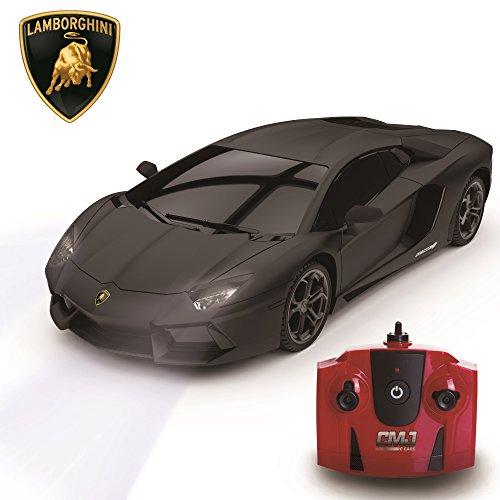 Lamborghini Aventador, télécommandé/télécommandé Modèle Voiture. 1:24 échelle En Mat Noir/Blanc et Orange – Noir Mat