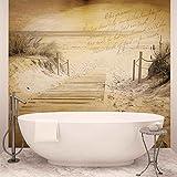 Strand Weg Sepia Vintage - Forwall - Fototapete - Tapete - Fotomural - Mural Wandbild - (3585WM) - XXL - 312cm x 219cm - VLIES (EasyInstall) - 3 Pieces