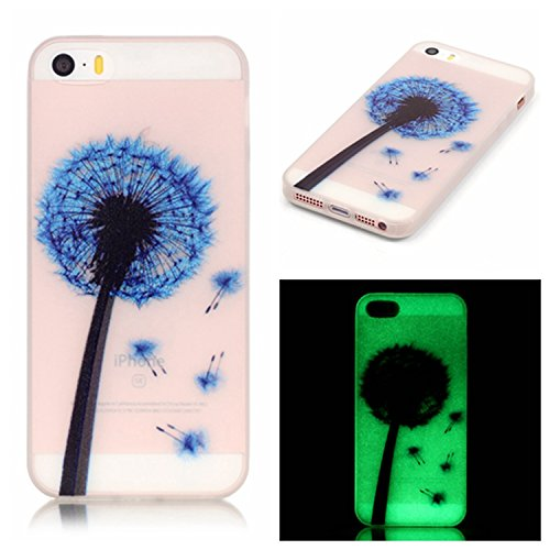 Cuitan Noctilucent Housse Étui pour iPhone 7 (4,7 Inch), Amoureux et arbre Motif Souple TPU Slim Arrière Coque Back Cover Housse de Protection Protecteur Etui Case pour Apple iPhone 7 (4,7 Inch) - Amo Bleu Pissenlit
