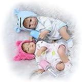 Soft Awake Boy + Asleep Girl Twins Baby Nurturing Dolls 17''42Cm Soft Silicone Cloth Body Reborn Baby Doll For Sale Fashion Kids Birthday Gifts