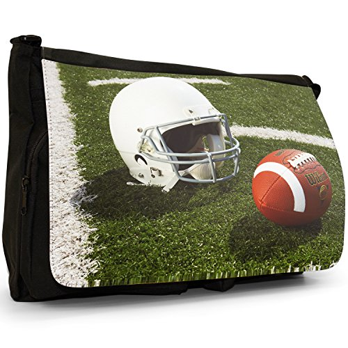 Fancy A Bag Borsa Messenger nero College American Football Helmet American Football Helmet & Ball on Field