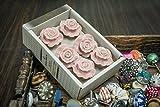 "Casa Decor Set of 6 Symbol of ""LOVE"" Pink Rose Design Handmade Drawer Pull Cabinet Ceramic Knobs"