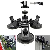 Homeet Voiture Ventouse Auto Support à Ventouse Fixation Mount Caméra Auto Triple Suction Cup pour GoPro Hero 6/5/4/3+/3/ Session/ YI / Campark / SJCAM / Garmin / SONY Nikon Canon etc.
