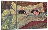 Henri de Toulouse-Lautrec - Im Bett (1893), 120 x 80 cm (Dreiteiler, 3 x 40x80cm) (weitere Größen verfügbar), Leinwand auf Keilrahmen gespannt und fertig zum Aufhängen, hochwertiger Kunstdruck aus deutscher Produktion
