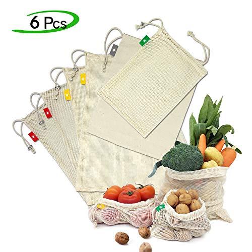 Ezlife Borse per Frutta Riutilizzabili Sacchetti di Frutta e Verdura Cotone Organico Lavabile Traspirante Sacchetti Riutilizzabili Rete Ecologici per