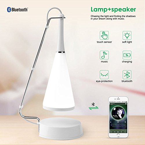 Nachttischlampe mit Bluetooth Lautsprecher Touch Sensor Tischleuchte Stimmungslicht ELEPOWSTAR LED Schlummerleuchte einstellbare Helligkeit