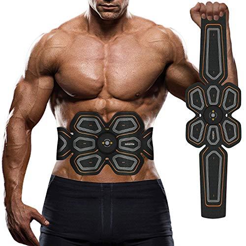 WJW Elettrostimolatore Muscolare EMS Addominali Trainer,Cinghia Tonificante Addominale con,ABS Stimolatore Addome/Braccio/Gambe/Waist/Glutei Massaggi-Attrezzi Uomo/Donna USB Ricaricabile