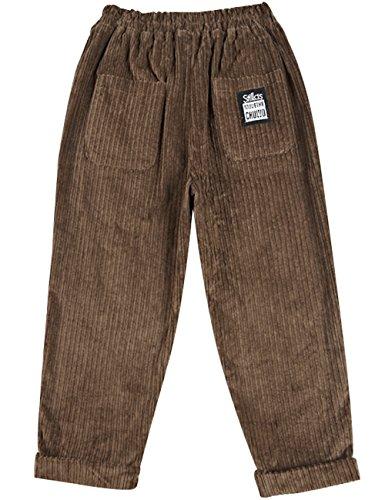 Youlee Donna Inverno Autunno Vita elastica Due tasche anteriori Pantaloni di velluto a coste Caffè
