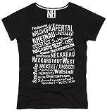 Mannheim Stadtteile Herren T-Shirt Rundhalsausschnitt Slim Fit Schwarz Weiß Größe XL