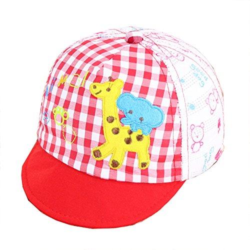 Wicemoon Bébé Coton Chapeau Chapeau de Soleil Brodée Poney Plaid Casquette Enfants d'été de Plage Chapeau Recommandé pour 0-2 Ans Bébé 45-47 cm