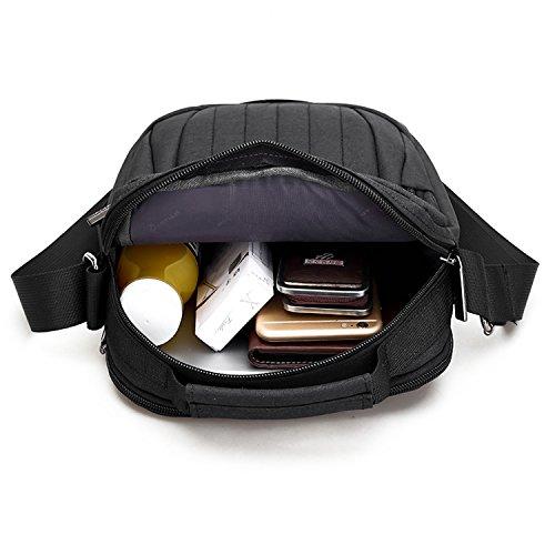 Outreo Borse a Spalla Tablet Borsa Tracolla Vintage Borsa Uomo Sacchetto Viaggio Borsetta Casuale Borsello per Sport Messenger Bag Nero