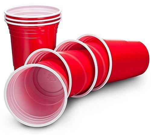 große American Style Rot Kunststoff Party Drinks Cups–Ideal für Picknicks, Grillen, am Pool, Camping, Kinder-Partys oder einfach nur den täglichen Gebrauch–Ideal für Beer Pong und andere Party Games–leicht, stapelbar, wiederverwendbar, und leicht zu reinigen (Weihnachten-kunststoff-cups)
