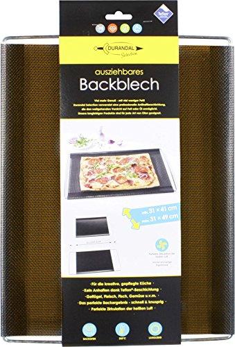 Durandal Backblech Ausziehbar | Backofenofenblech Flexibel in der Breite 41 bis 49 cm | Für Fast alle Backofen Marken | Ofenblech als Pizzablech geeignet