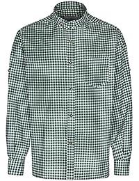 Herren Stehkragen Hemd - FROHSINN - Trachten Hemd Slim Fit Stehkragen und Riegel - ideal zur Lederhose oder als Freizeithemd Trachtenhemd wahlweise in grün, blau oder rot – Alle Größen