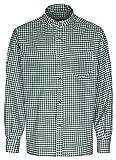 Camicia da uomo tradizionale bavarese, con colletto alla coreana con bottone, colore: blu/bianco a quadretti, vestibilità aderente, stile Oktoberfest green XXL
