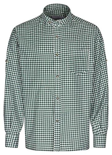 Herren Stehkragen Hemd der Marke FROHSINN - Trachten Hemd Slim Fit figurbetont mit Stehkragen und Riegel, Trachtenhemd wahlweise in grün, blau oder rot - Alle Größen - Herrenhemd ideal zur Lederhose oder als Freizeithemd(grün, XXL)