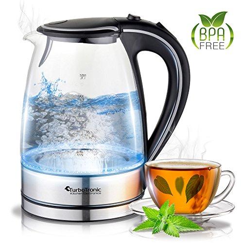 Glas (TurboTronic Glas Wasserkocher 1,7 Liter mit Kalkfilter und LED Beleuchtung Blau (innen) BPA Frei, Leistung: 2200 Watt)