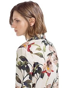 Mujer Camisa Suelta Botón Abajo Flor Imprimir Largo Largo Split Primavera Verano Ceremonia Blusa