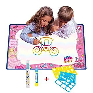 70CMx50CM Doodle Magic Tapis De Eau Dessins Arc en Ciel,TQP-CK Dessin Peinture Mat écriture 2 Doodle Water Magic stylo + 3 Stencil,Princesse
