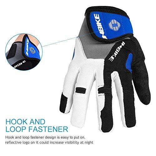Inbike Herren Fahrradhandschuhe Mit Gel vollfinger MTB Handschuhe für das Radfahren(Blau-Lang,L) - 6