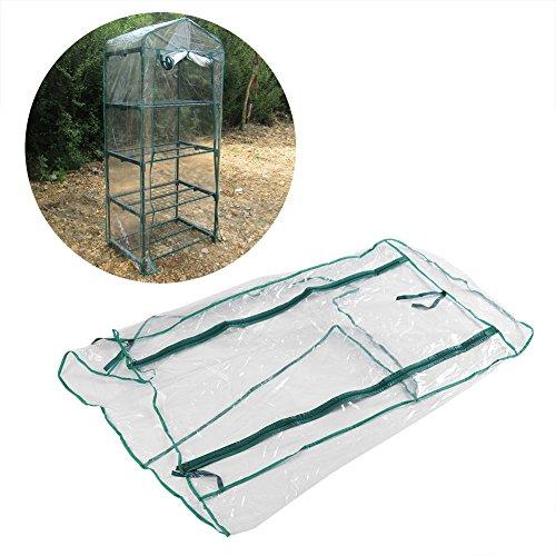 Asixx Abdeckhaube für Foliengewächshaus, Mini Platzsparend Outdoor-Gewächshaus, 69 x 49 x 160cm – 4 Etagen für Balkon, grün