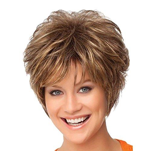 Hrph Mode Cheveux Courts Bouclés 30cm Cosplay Party Perruque de Cheveux Naturelle Blonde Résistante au Lavage à Haute Température