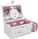 Weiden - Picknickkorb für 2 Personen mit Picknickdecke - Komplettsett mit Gläsern, Besteck und Tellern