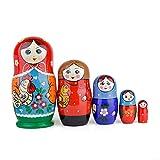 Heka Naturals Russische Matroschka-Puppen, 5 traditionelle Matroschkas Kurochka-Stil | Babuschka Holzpuppe, Mädchen mit Vogel-Design, Handgefertigt in Russland | Kurochka, 5 Stück, 18 cm