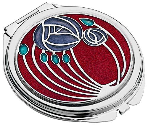 Taschenspiegel, im Mackintosh Zwei Rosen Design. (rot) -