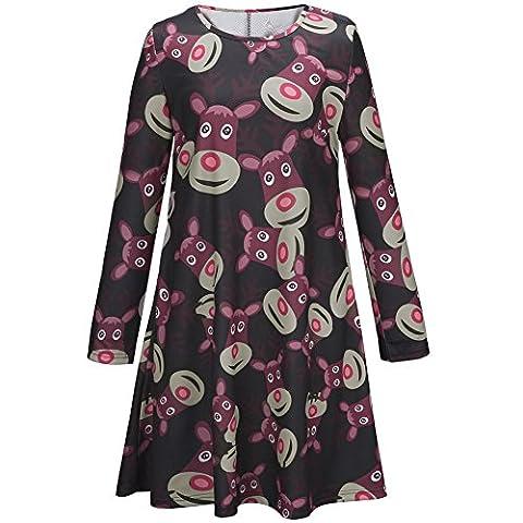 iPretty Womens Christmas Swing Dresses Ladies Long Sleeve Olaf Santa Gifts & Bells Snowman Xmas Swing DRESS Top Plus Size 2XL-UK(16-20)