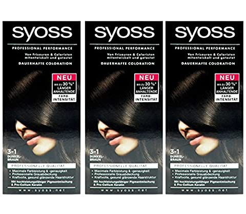 3x SYOSS Haarfarbe 3-1 DUNKELBRAUN - Farbgenaues