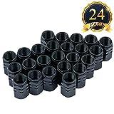 SUBANG - 24tapones para válvulas de neumáticos, estilo hexagonal, color negro