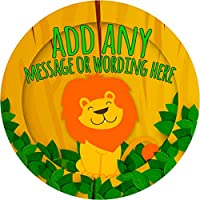 African Lion Sticker Labels (48 Stickers, 4.5cm Each) Personalised Custom Seals Ideal for Party Bags Sweet Cones Favours Jars Presentations Gift Boxes Bottles Crafts