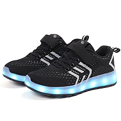 Axcer LED Light Up Trainers 7 Colors Flashing USB Charge Mesh Breathable Sport Running Shoes Gymnastic Tennis Sneakers Best Gift for Boys and Girls Birthday 6
