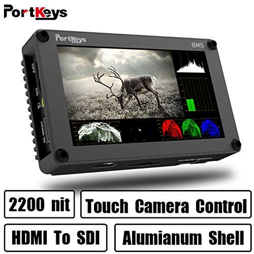 PortKeys BM5 5.2 Zoll Ultra Bright 2200nit 3G SDI/4K HDMI Touchscreen DSLR Kamera Feldmonitor mit 3D LUT, Wavaform, Kamera-Steuerungsfunktionen, Tragbarer kleiner Monitor