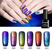 Vrenmol 6 Pcs Soak Off Gel Nail Polish Set, Chameleon Colors Changes Glitter Sparkly UV LED Soak Off Nail Lacquers Kit 8ml