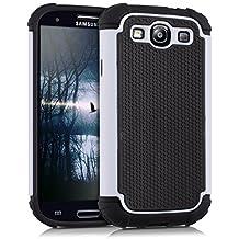 kwmobile Funda híbrida para Samsung Galaxy S3 / S3 Neo en blanco negro. Interior de gel TPU, ¡estructura rígida! Ideal para uso al aire libre y ultramoderna