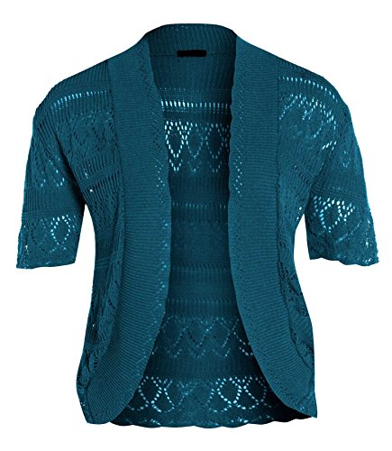 Chocolate Pickle ® Frauen Crochet Knit Cardigans Fischnetz Bolero Top 44-46 Teal (Knit Cardigan Crochet)