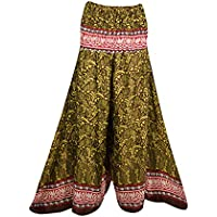 Mogul Interior Women Skirt Pant Hight Waist Hippie Recycled Split Maxi Skirts M