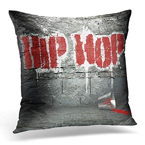 Yuerb Fundas para Almohada Music Graffiti Wall with Hip Hop Street Rap Word Decorative Pillow Case Home Decor Square 18x18 Inches Pillowcase