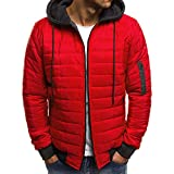 HUIHUI 2019 Winterjacke Herren schwarz Volcom Mantel Slim fit Jacket for Man with Hood (rot,M)