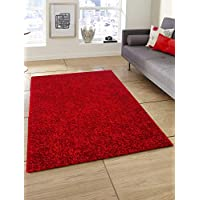 Story at Home Modern Anti Skid Polyester Floral Thick Soft Shaggy Area Rug Long Lasting Carpet for Bedroom, Living Room, Hall - 3 X 5 FT,Red